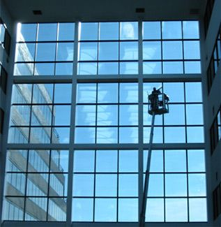 East Lansing high atrium commercial office window cleaning