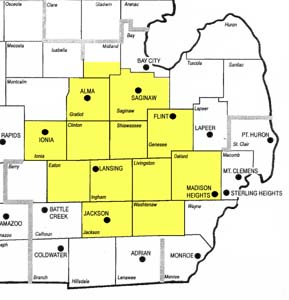 Serving Mid Michigan counties of Ingham, Eaton, Jackson, Washtenaw, Livingston, Oakland, Genesee, Saginaw Shiawasee, Griatiot, Clinton and Ionia